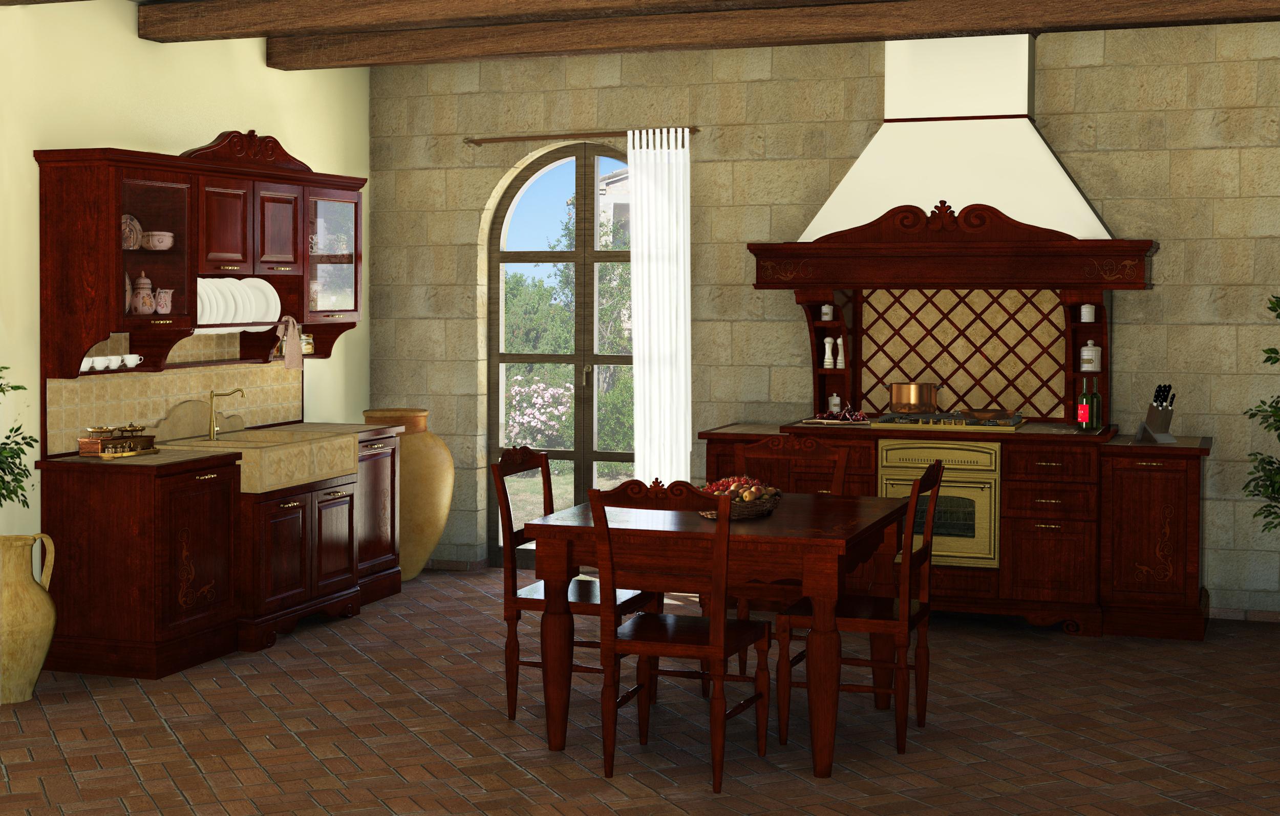Cucine della nonna cucine classiche in legno massello - Colori pareti cucina classica ...